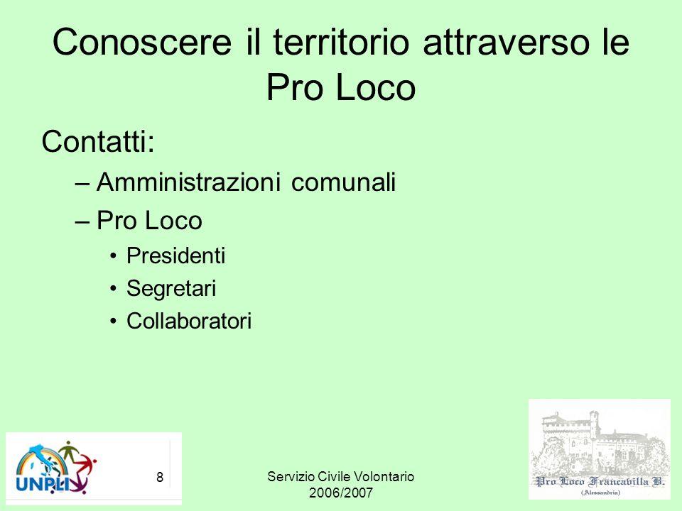 Servizio Civile Volontario 2006/2007 8 Conoscere il territorio attraverso le Pro Loco Contatti: –Amministrazioni comunali –Pro Loco Presidenti Segreta