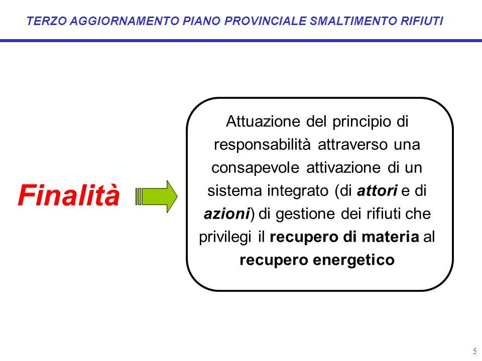 5 TERZO AGGIORNAMENTO PIANO PROVINCIALE SMALTIMENTO RIFIUTI Finalità Attuazione del principio di responsabilità attraverso una consapevole attivazione