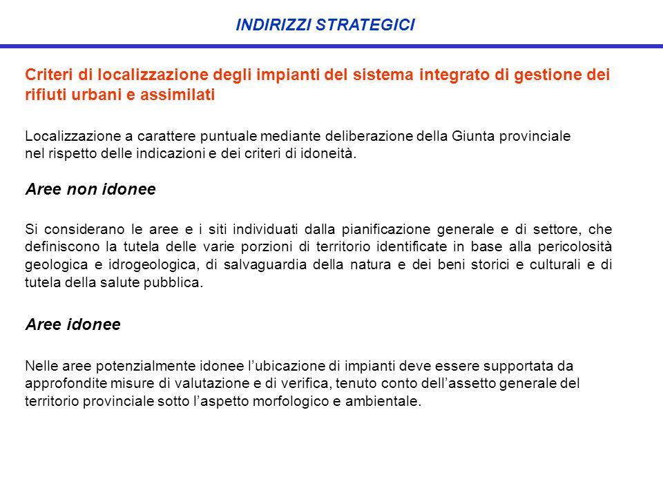 Criteri di localizzazione degli impianti del sistema integrato di gestione dei rifiuti urbani e assimilati Localizzazione a carattere puntuale mediant