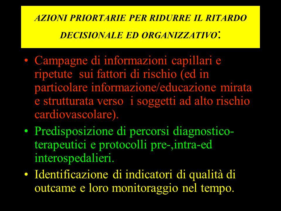 AZIONI PRIORTARIE PER RIDURRE IL RITARDO DECISIONALE ED ORGANIZZATIVO : Campagne di informazioni capillari e ripetute sui fattori di rischio (ed in pa