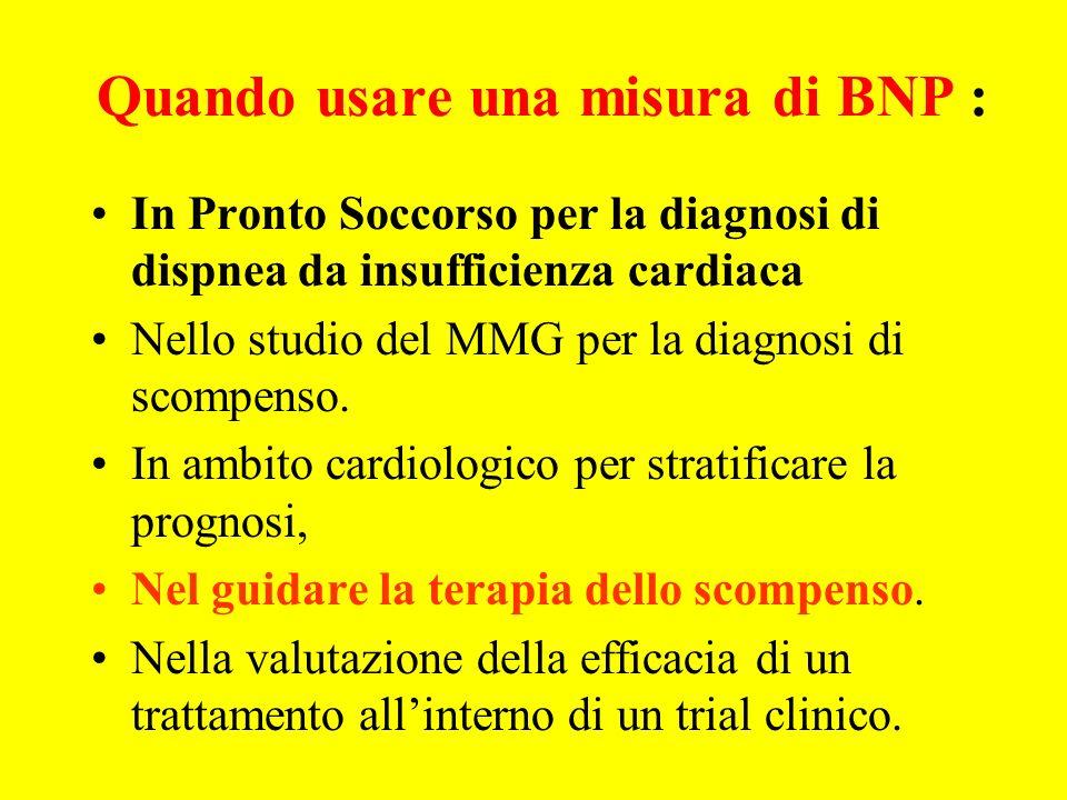 Quando usare una misura di BNP : In Pronto Soccorso per la diagnosi di dispnea da insufficienza cardiaca Nello studio del MMG per la diagnosi di scomp