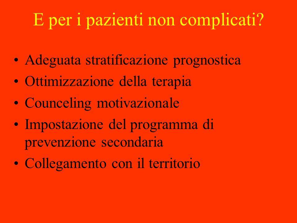 E per i pazienti non complicati? Adeguata stratificazione prognostica Ottimizzazione della terapia Counceling motivazionale Impostazione del programma