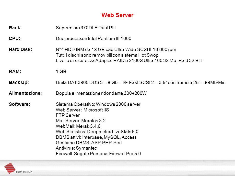 Web Server Rack: Supermicro 370DLE Dual PIII CPU: Due processori Intel Pentium III 1000 Hard Disk: N°4 HDD IBM da 18 GB cad Ultra Wide SCSI II 10.000