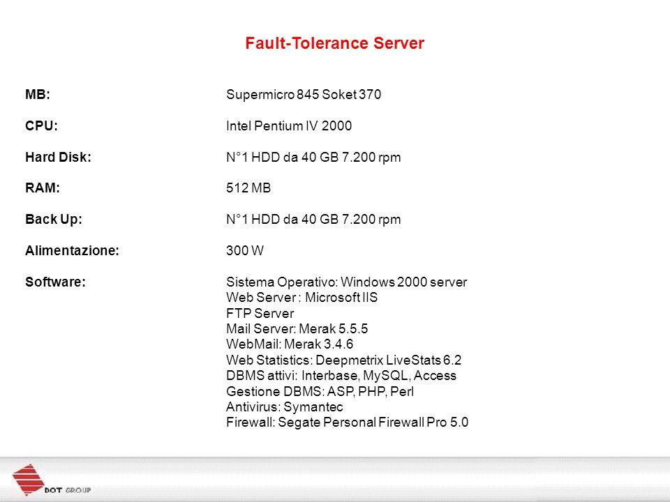 Fault-Tolerance Server MB:Supermicro 845 Soket 370 CPU:Intel Pentium IV 2000 Hard Disk:N°1 HDD da 40 GB 7.200 rpm RAM:512 MB Back Up:N°1 HDD da 40 GB