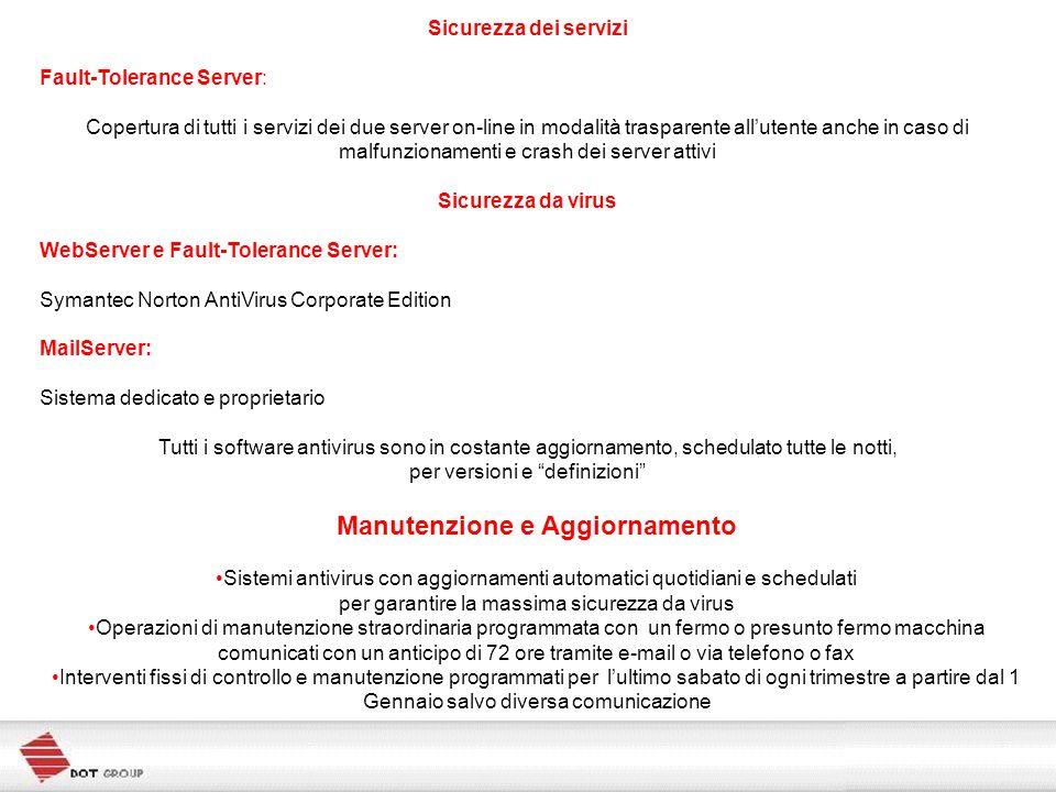 Sicurezza dei servizi Fault-Tolerance Server: Copertura di tutti i servizi dei due server on-line in modalità trasparente allutente anche in caso di m