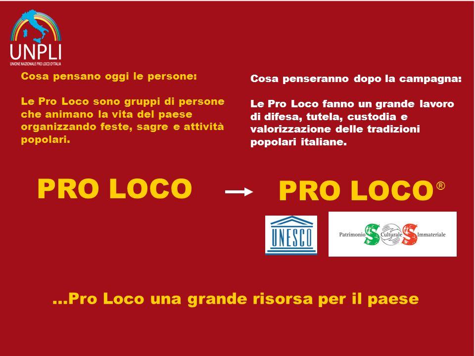 …Pro Loco una grande risorsa per il paese Cosa pensano oggi le persone: Le Pro Loco sono gruppi di persone che animano la vita del paese organizzando