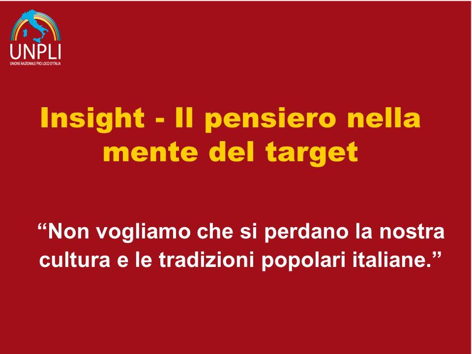 Non vogliamo che si perdano la nostra cultura e le tradizioni popolari italiane. Insight - Il pensiero nella mente del target