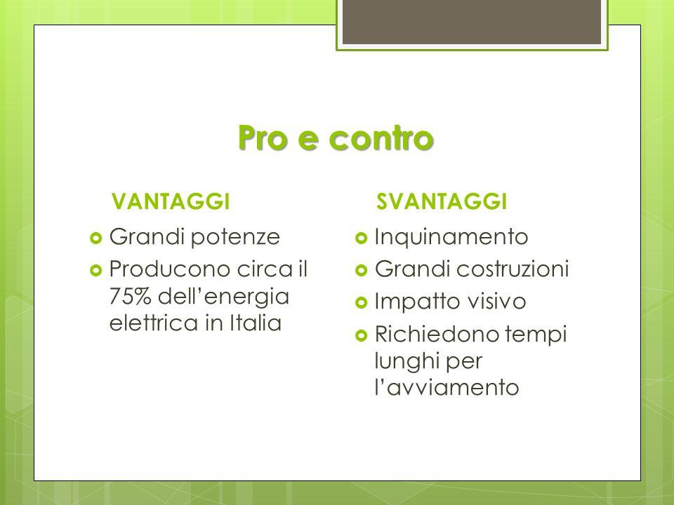 Pro e contro VANTAGGI Grandi potenze Producono circa il 75% dellenergia elettrica in Italia SVANTAGGI Inquinamento Grandi costruzioni Impatto visivo R