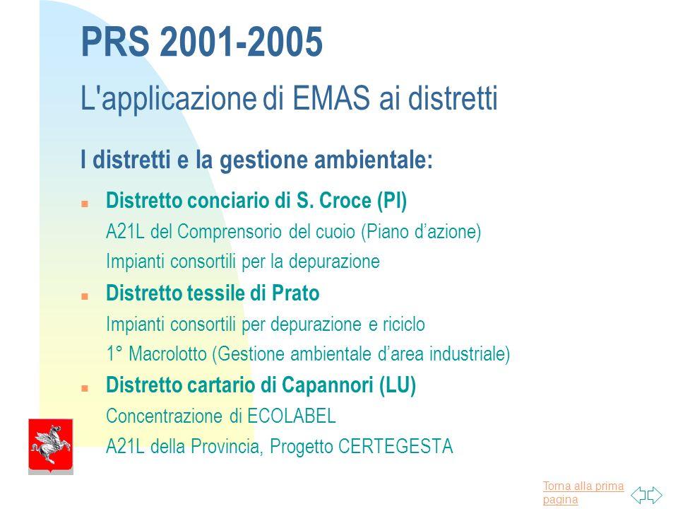 Torna alla prima pagina PRS 2001-2005 L applicazione di EMAS ai distretti I distretti e la gestione ambientale: n Distretto conciario di S.