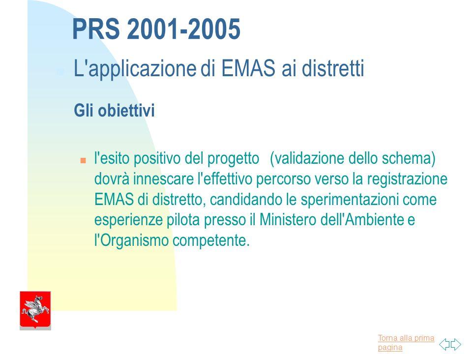 Torna alla prima pagina PRS 2001-2005 L applicazione di EMAS ai distretti Gli obiettivi n l esito positivo del progetto (validazione dello schema) dovrà innescare l effettivo percorso verso la registrazione EMAS di distretto, candidando le sperimentazioni come esperienze pilota presso il Ministero dell Ambiente e l Organismo competente.