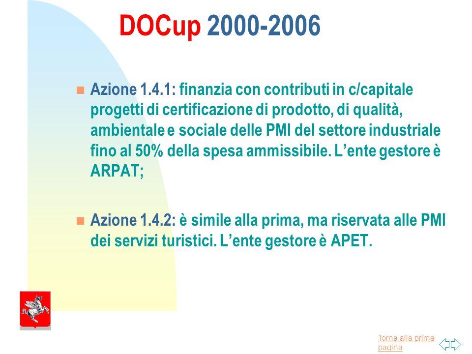 Torna alla prima pagina DOCup 2000-2006 Azione 1.4.1: finanzia con contributi in c/capitale progetti di certificazione di prodotto, di qualità, ambientale e sociale delle PMI del settore industriale fino al 50% della spesa ammissibile.