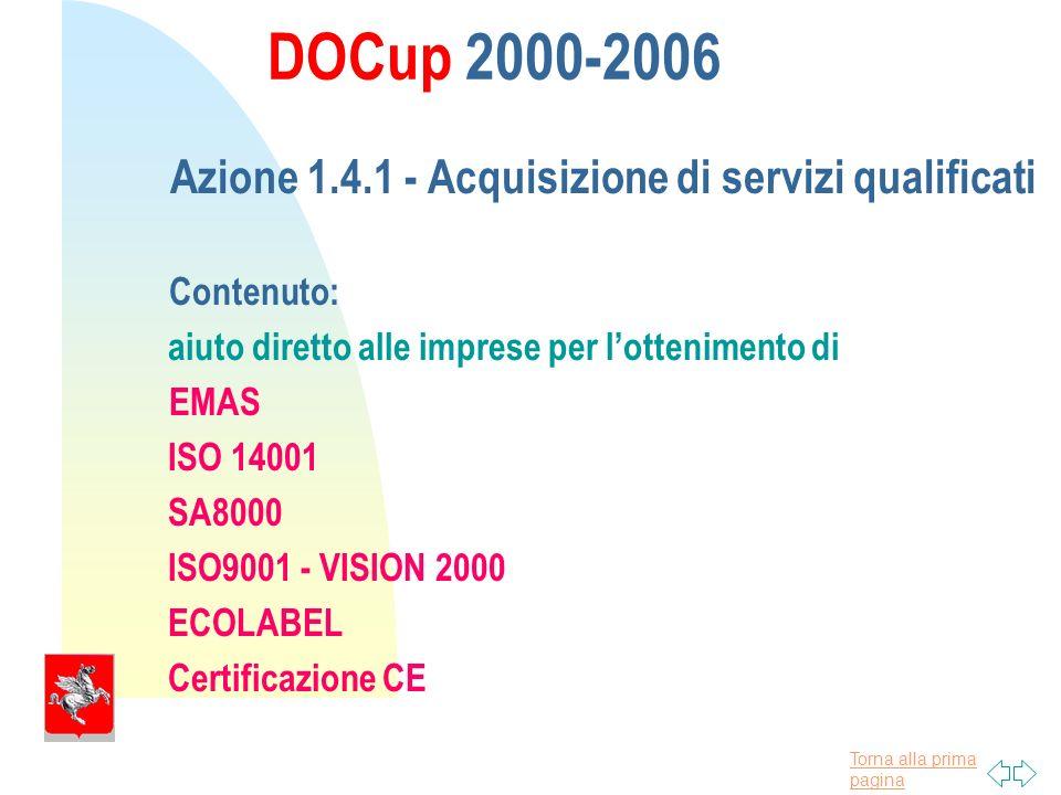 Torna alla prima pagina DOCup 2000-2006 Azione 1.4.1 - Acquisizione di servizi qualificati Contenuto: aiuto diretto alle imprese per lottenimento di EMAS ISO 14001 SA8000 ISO9001 - VISION 2000 ECOLABEL Certificazione CE