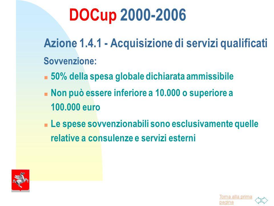 Torna alla prima pagina DOCup 2000-2006 Azione 1.4.1 - Acquisizione di servizi qualificati Sovvenzione: 50% della spesa globale dichiarata ammissibile Non può essere inferiore a 10.000 o superiore a 100.000 euro Le spese sovvenzionabili sono esclusivamente quelle relative a consulenze e servizi esterni