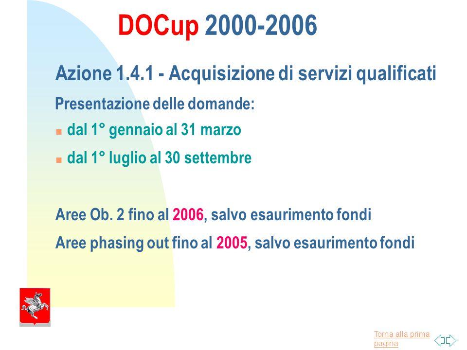 Torna alla prima pagina DOCup 2000-2006 Azione 1.4.1 - Acquisizione di servizi qualificati Presentazione delle domande: dal 1° gennaio al 31 marzo dal 1° luglio al 30 settembre Aree Ob.