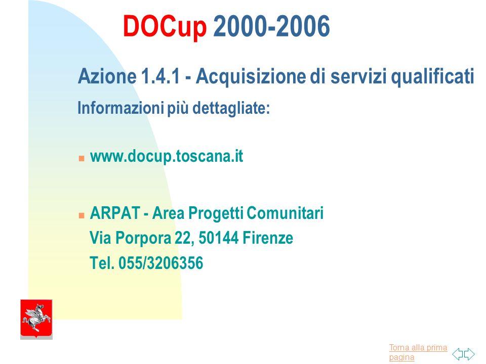 Torna alla prima pagina DOCup 2000-2006 Azione 1.4.1 - Acquisizione di servizi qualificati Informazioni più dettagliate: www.docup.toscana.it ARPAT - Area Progetti Comunitari Via Porpora 22, 50144 Firenze Tel.