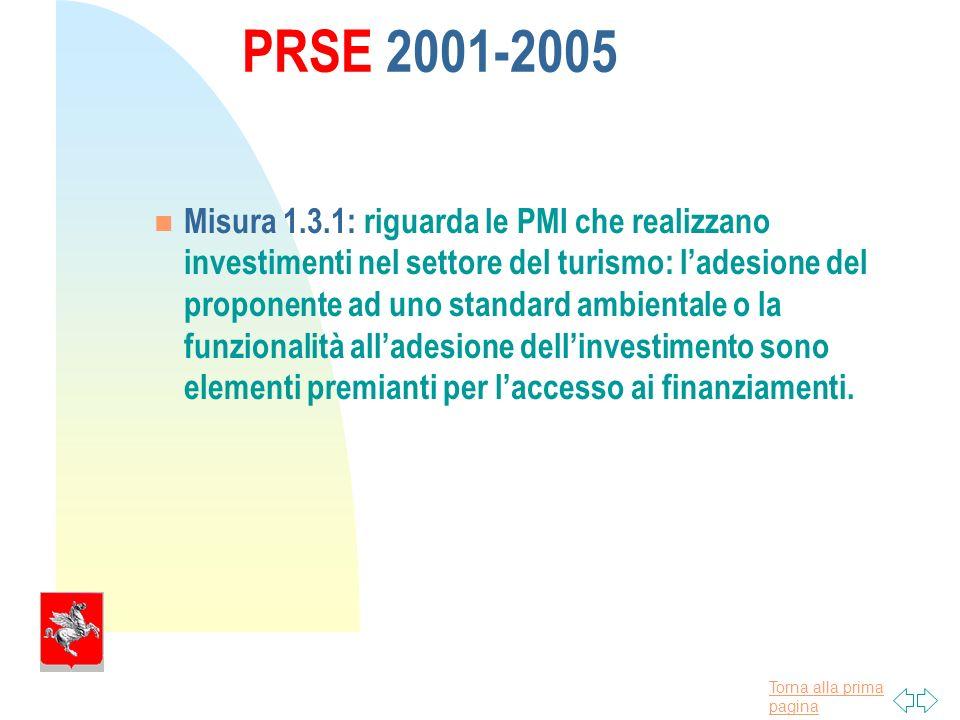 Torna alla prima pagina PRSE 2001-2005 Misura 1.3.1: riguarda le PMI che realizzano investimenti nel settore del turismo: ladesione del proponente ad uno standard ambientale o la funzionalità alladesione dellinvestimento sono elementi premianti per laccesso ai finanziamenti.