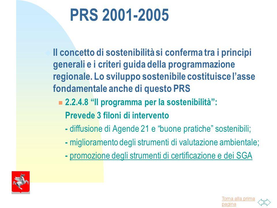 Torna alla prima pagina PRS 2001-2005 u Il concetto di sostenibilità si conferma tra i principi generali e i criteri guida della programmazione regionale.