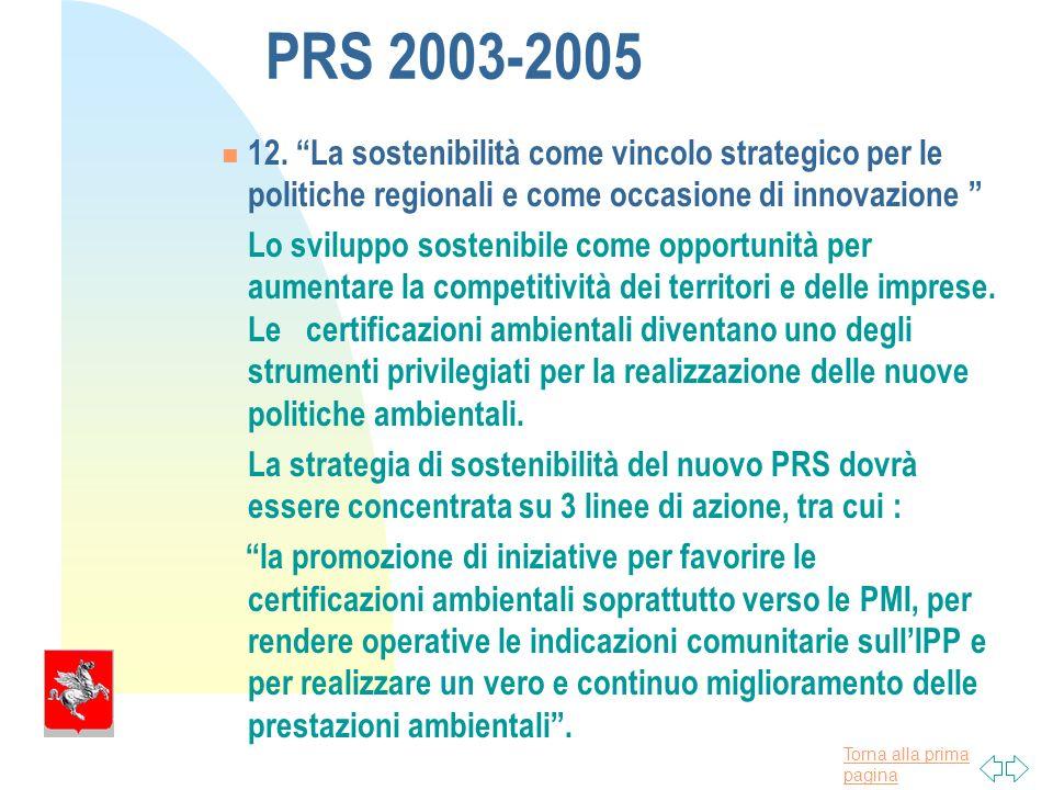 Torna alla prima pagina PRS 2003-2005 12.