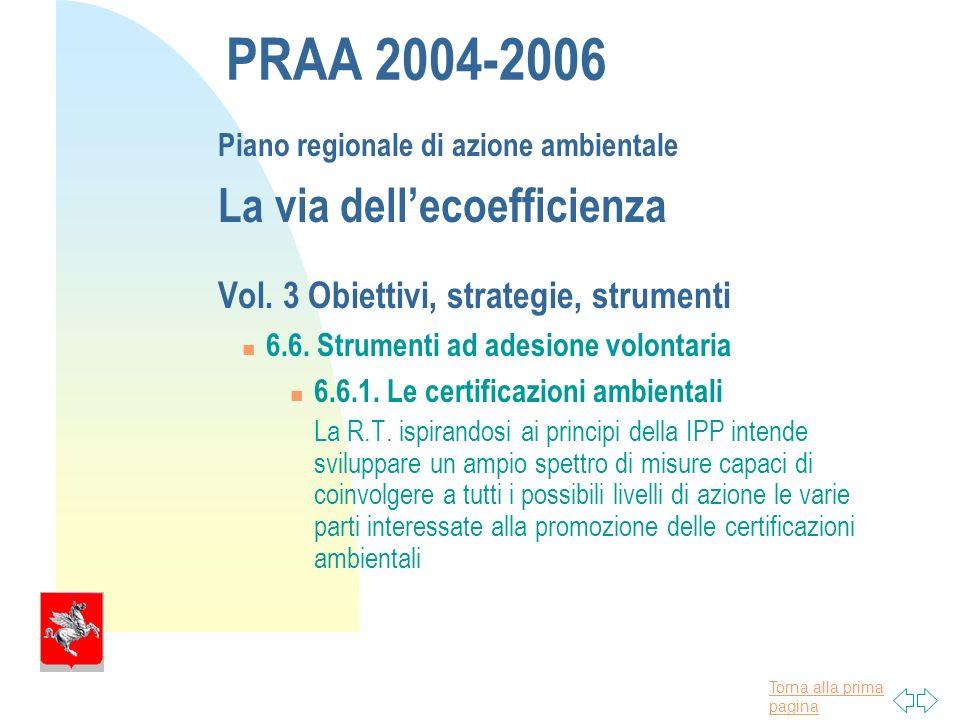 Torna alla prima pagina PRAA 2004-2006 Piano regionale di azione ambientale La via dellecoefficienza Vol.