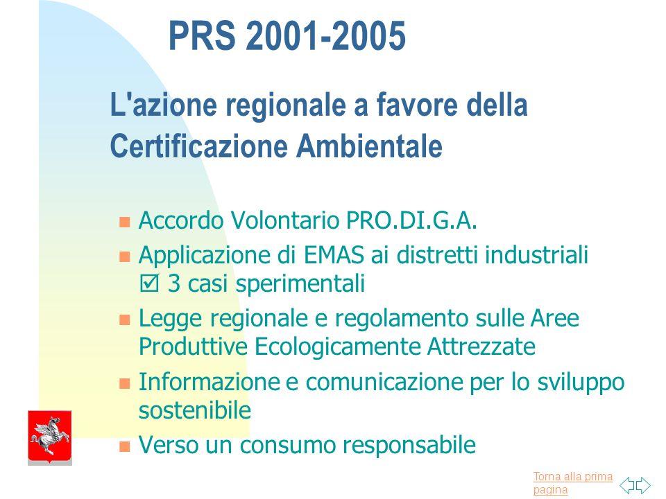 Torna alla prima pagina PRS 2001-2005 L azione regionale a favore della Certificazione Ambientale Accordo Volontario PRO.DI.G.A.