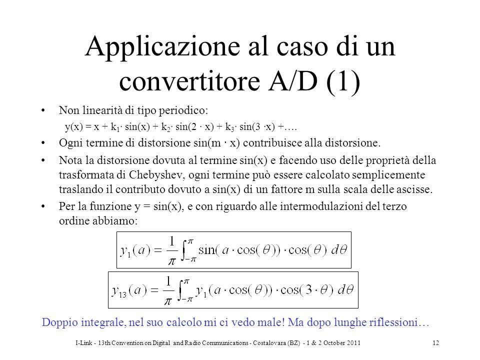 I-Link - 13th Convention on Digital and Radio Communications - Costalovara (BZ) - 1 & 2 October 201112 Applicazione al caso di un convertitore A/D (1)