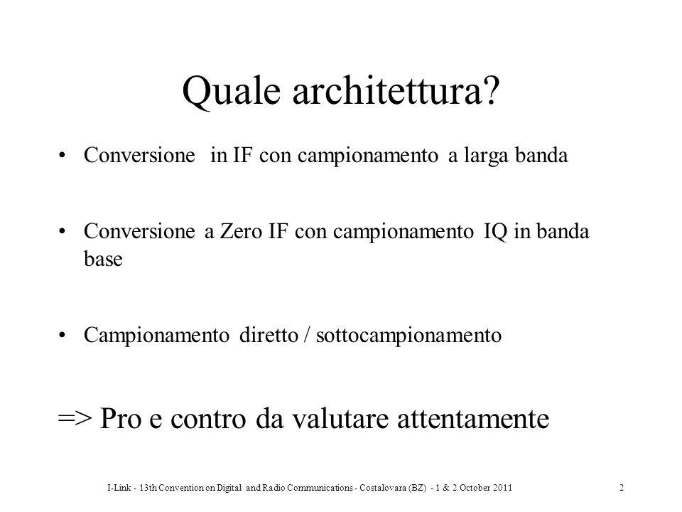 I-Link - 13th Convention on Digital and Radio Communications - Costalovara (BZ) - 1 & 2 October 20112 Quale architettura? Conversione in IF con campio