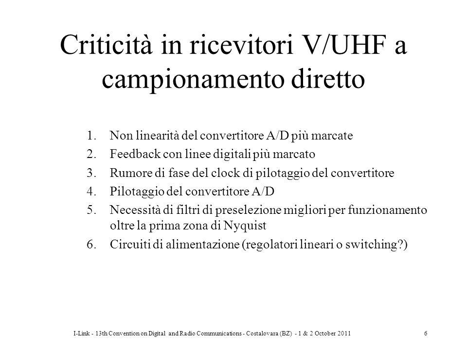 I-Link - 13th Convention on Digital and Radio Communications - Costalovara (BZ) - 1 & 2 October 20116 Criticità in ricevitori V/UHF a campionamento di