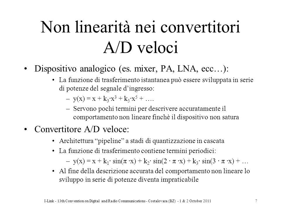I-Link - 13th Convention on Digital and Radio Communications - Costalovara (BZ) - 1 & 2 October 20117 Non linearità nei convertitori A/D veloci Dispos