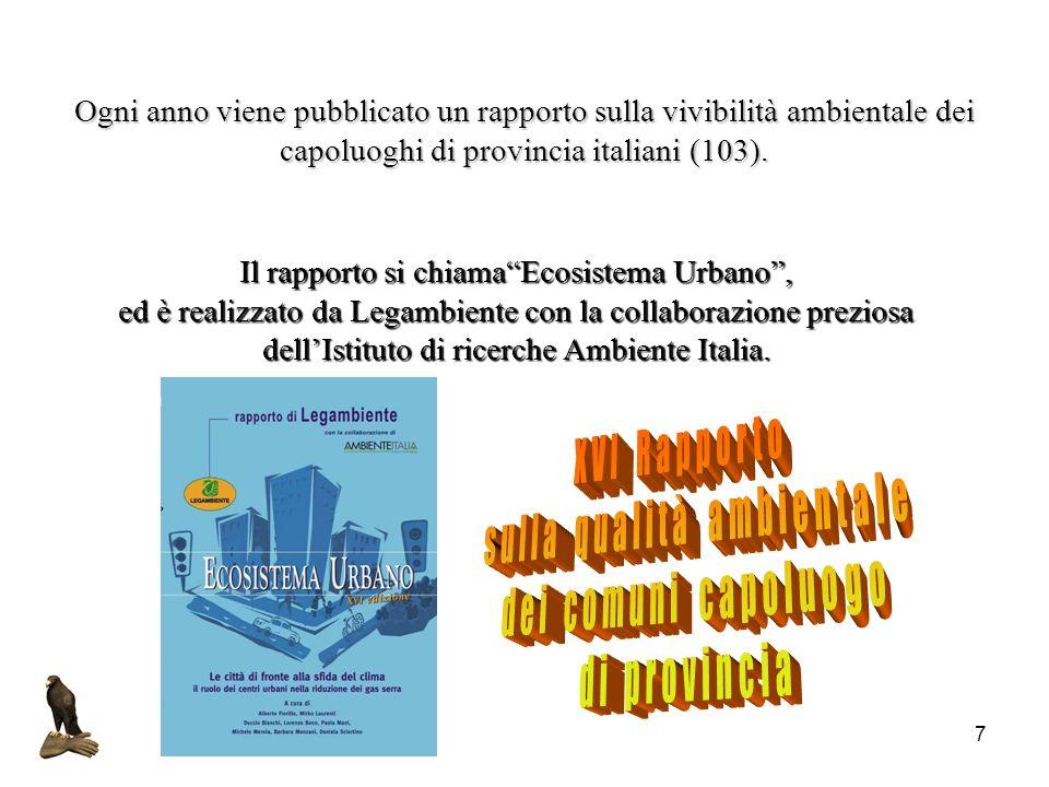 7 Ogni anno viene pubblicato un rapporto sulla vivibilità ambientale dei capoluoghi di provincia italiani (103). Il rapporto si chiamaEcosistema Urban