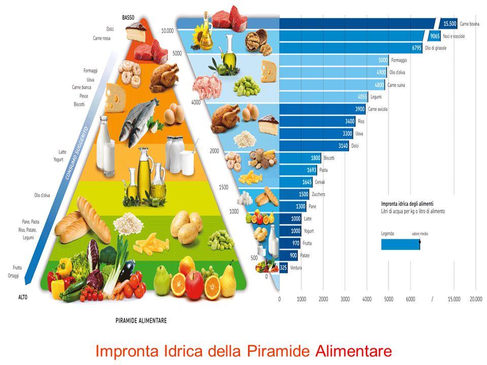 Piramide alimentare: consumo idrico dei vari cibi che mangiamo