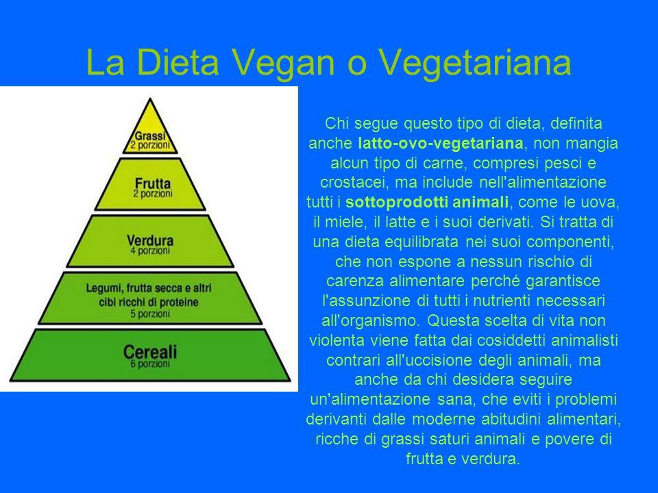 La Dieta Vegan o Vegetariana Chi segue questo tipo di dieta, definita anche latto-ovo-vegetariana, non mangia alcun tipo di carne, compresi pesci e cr