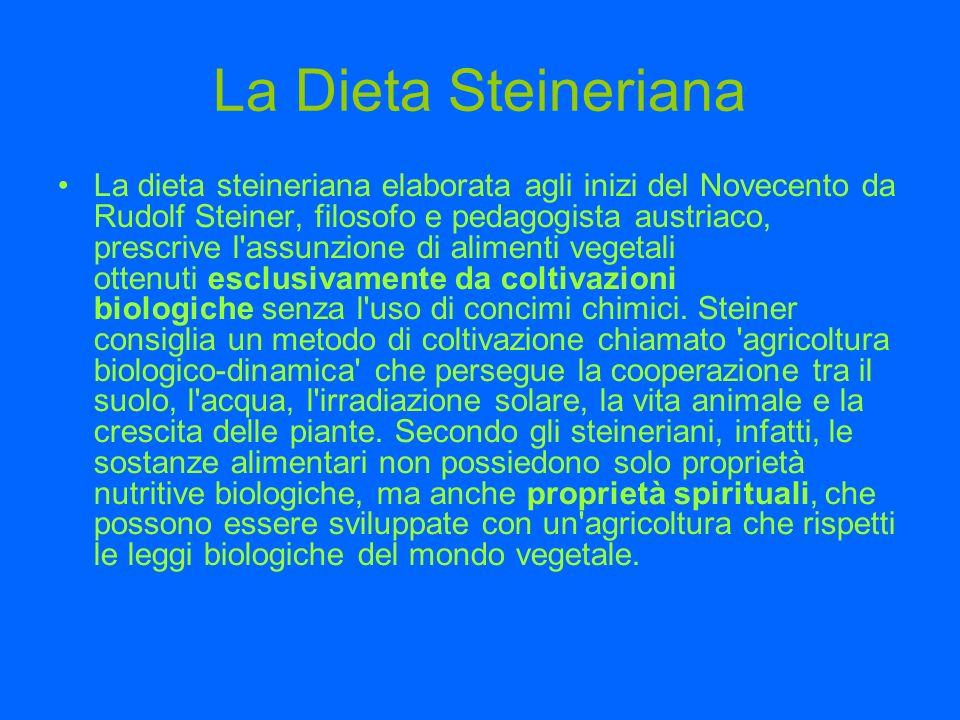 La Dieta Steineriana La dieta steineriana elaborata agli inizi del Novecento da Rudolf Steiner, filosofo e pedagogista austriaco, prescrive l'assunzio