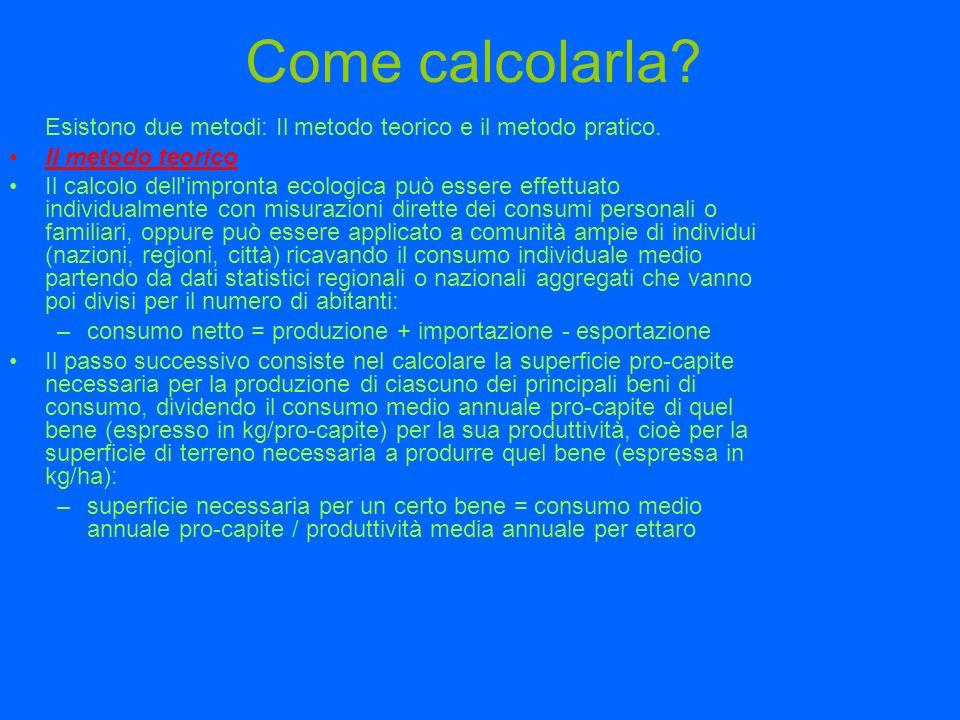 Come calcolarla? Esistono due metodi: Il metodo teorico e il metodo pratico. Il metodo teorico Il calcolo dell'impronta ecologica può essere effettuat