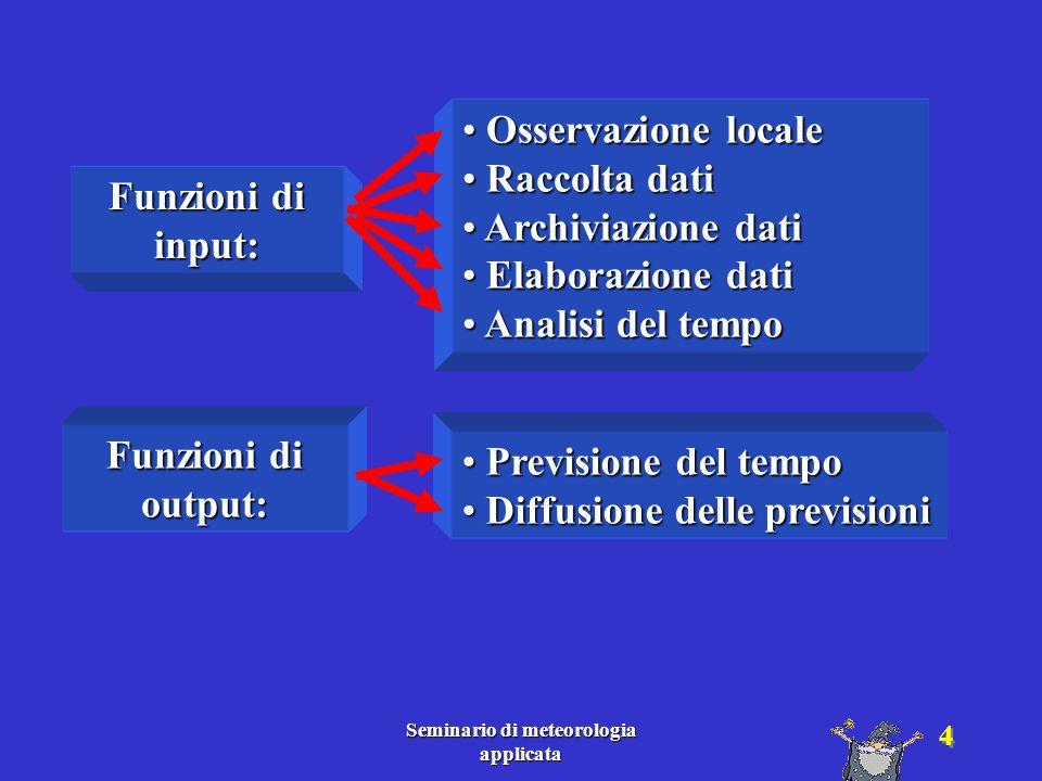 Seminario di meteorologia applicata 5 Osservazione locale Funzioni di input