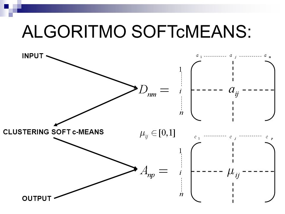 ALGORITMO SOFTcMEANS: INPUT OUTPUT CLUSTERING SOFT c-MEANS