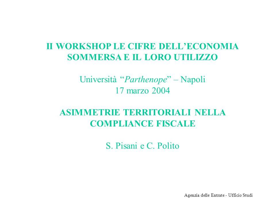 Agenzia delle Entrate - Ufficio Studi II WORKSHOP LE CIFRE DELLECONOMIA SOMMERSA E IL LORO UTILIZZO Università Parthenope – Napoli 17 marzo 2004 ASIMM