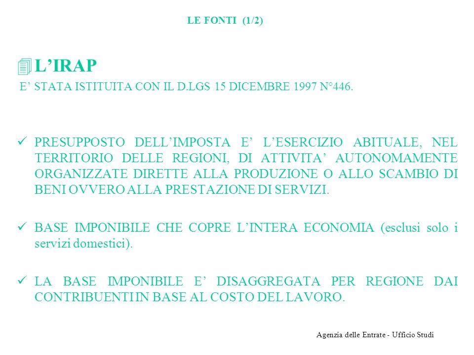 Agenzia delle Entrate - Ufficio Studi LE FONTI (1/2) 4LIRAP E STATA ISTITUITA CON IL D.LGS 15 DICEMBRE 1997 N°446.