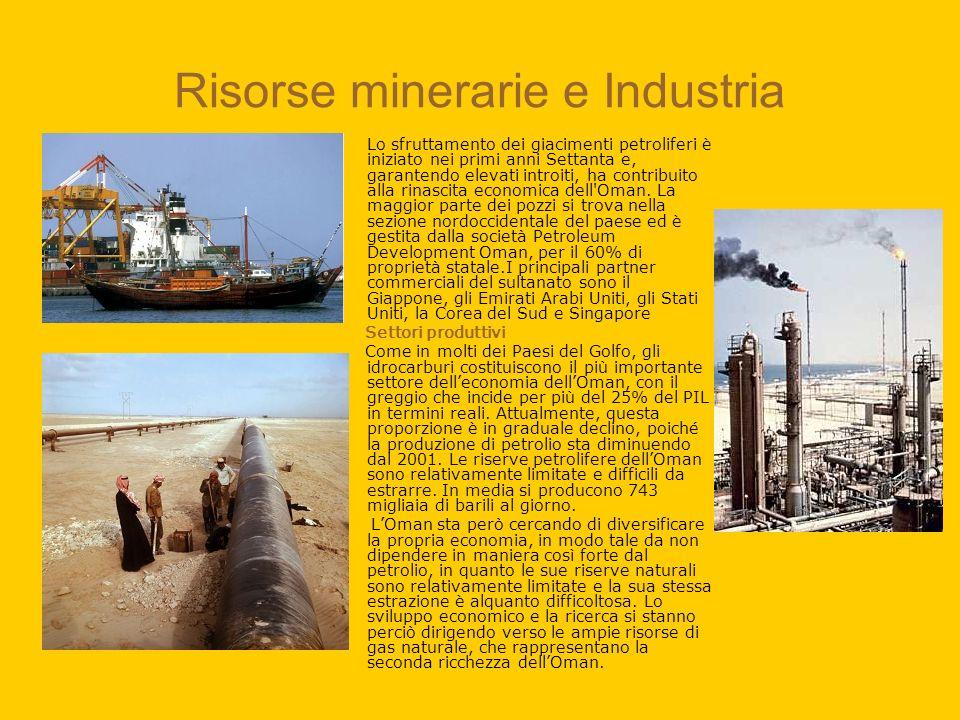 Risorse minerarie e Industria Lo sfruttamento dei giacimenti petroliferi è iniziato nei primi anni Settanta e, garantendo elevati introiti, ha contrib