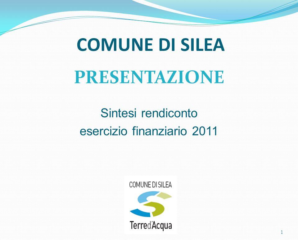 COMUNE DI SILEA PRESENTAZIONE Sintesi rendiconto esercizio finanziario 2011 1