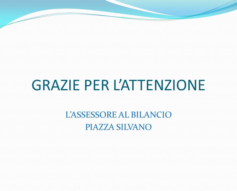 GRAZIE PER LATTENZIONE LASSESSORE AL BILANCIO PIAZZA SILVANO