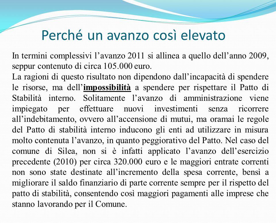 Perché un avanzo così elevato In termini complessivi lavanzo 2011 si allinea a quello dellanno 2009, seppur contenuto di circa 105.000 euro.