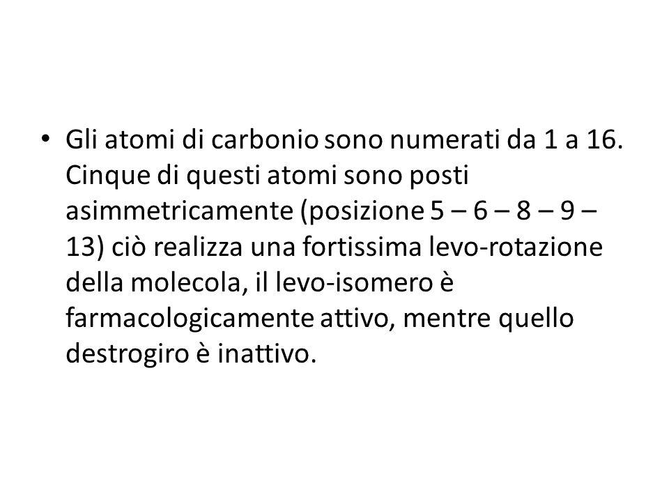 Gli atomi di carbonio sono numerati da 1 a 16. Cinque di questi atomi sono posti asimmetricamente (posizione 5 – 6 – 8 – 9 – 13) ciò realizza una fort