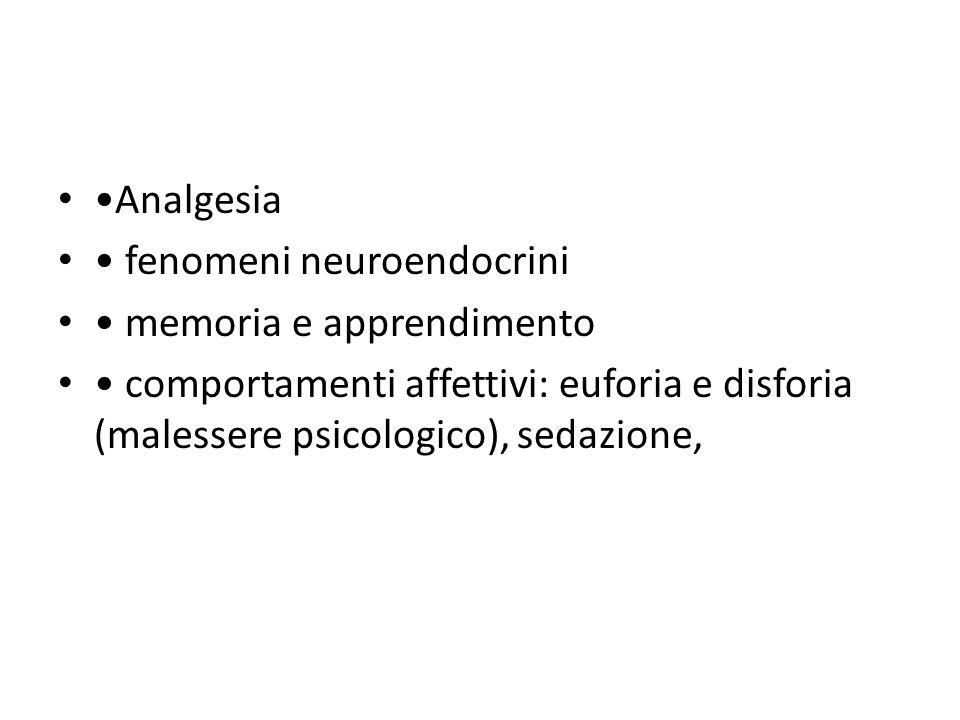 Analgesia fenomeni neuroendocrini memoria e apprendimento comportamenti affettivi: euforia e disforia (malessere psicologico), sedazione,