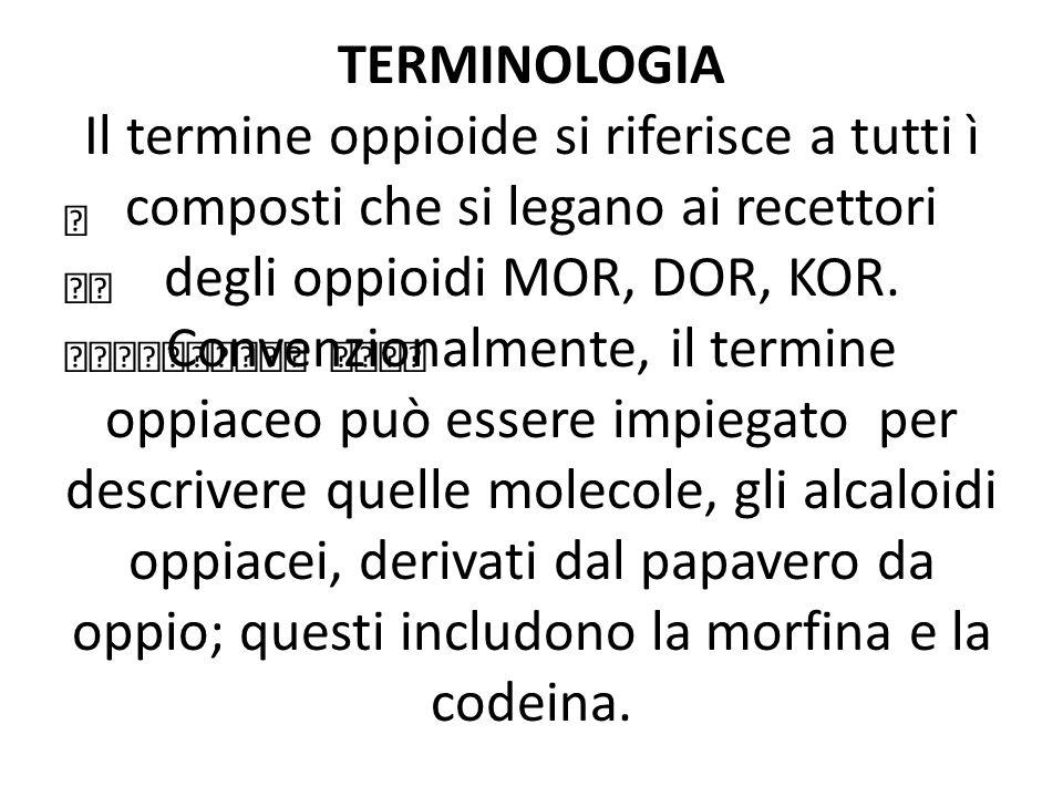 TIPI DI RECETTORI OPPIOIDEI MOR (mu opioid receptor) KOR (kor) DOR (delta) NOR (recettori per il peptide FQ/nocicettina/orfanina)(Meunier 1995) Su questi recettori agiscono diversi ligandi endogeni: Endorfine (MOP), Enkefaline