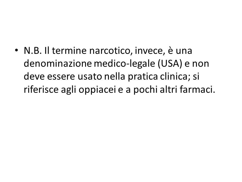 N.B. Il termine narcotico, invece, è una denominazione medico-legale (USA) e non deve essere usato nella pratica clinica; si riferisce agli oppiacei e