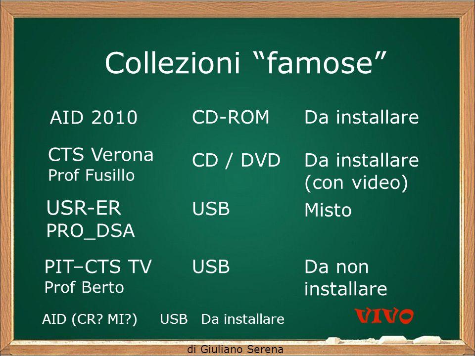 di Giuliano Serena Collezioni famose AID 2010 CD-ROMDa installare CTS Verona Prof Fusillo CD / DVDDa installare (con video) USR-ER PRO_DSA USB Misto PIT–CTS TV Prof Berto USBDa non installare AID (CR.