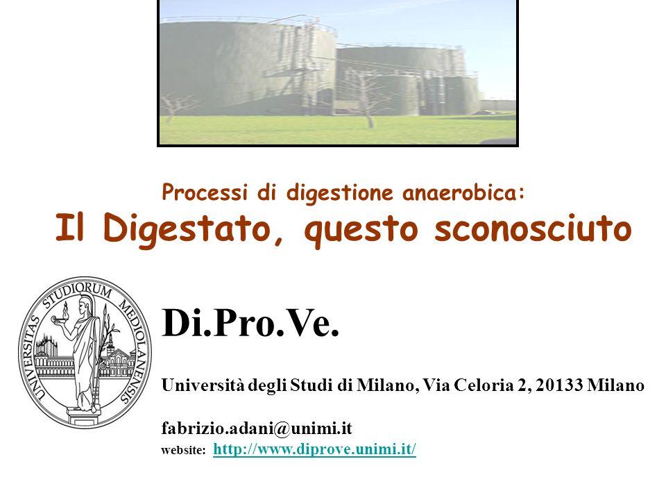 Processi di digestione anaerobica: Il Digestato, questo sconosciuto Di.Pro.Ve. Università degli Studi di Milano, Via Celoria 2, 20133 Milano fabrizio.