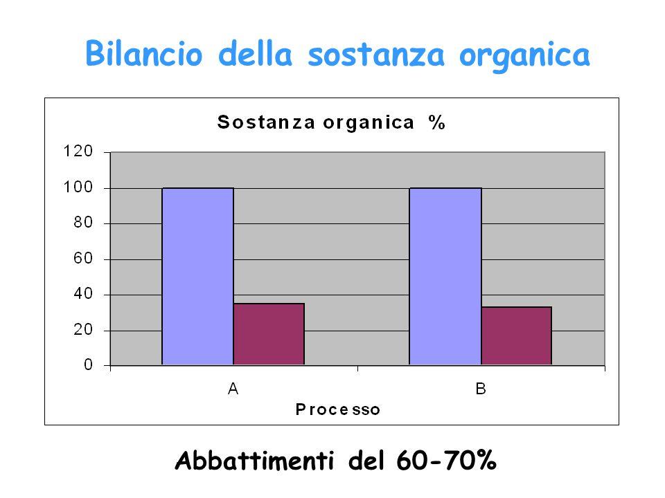 Abbattimenti del 60-70% Bilancio della sostanza organica