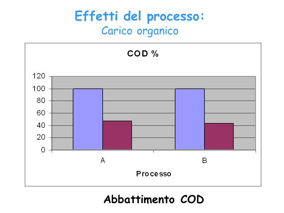 Abbattimento COD Effetti del processo: Carico organico