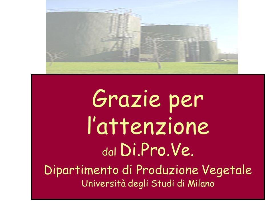 Grazie per lattenzione dal Di.Pro.Ve. Dipartimento di Produzione Vegetale Università degli Studi di Milano